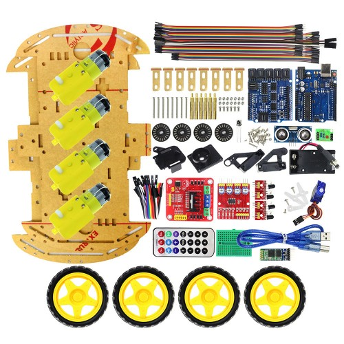 Upgrated Multifunction Bluetooth Controlled 4WD UNO R3 Starter DIY Chassis Car Kit for Arduino